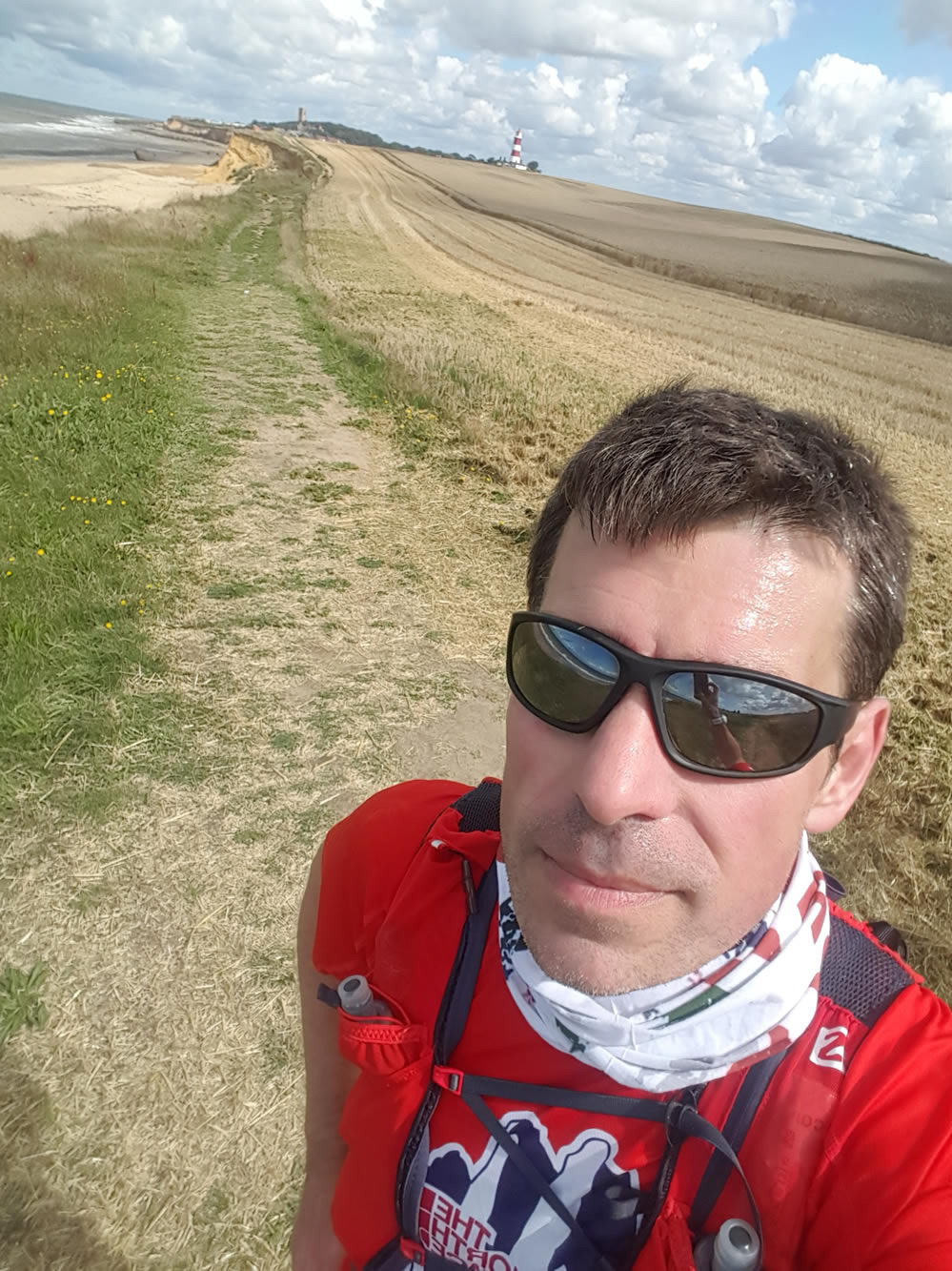 selfie with the Happisburgh Lighthouse on the north norfolk coastal path