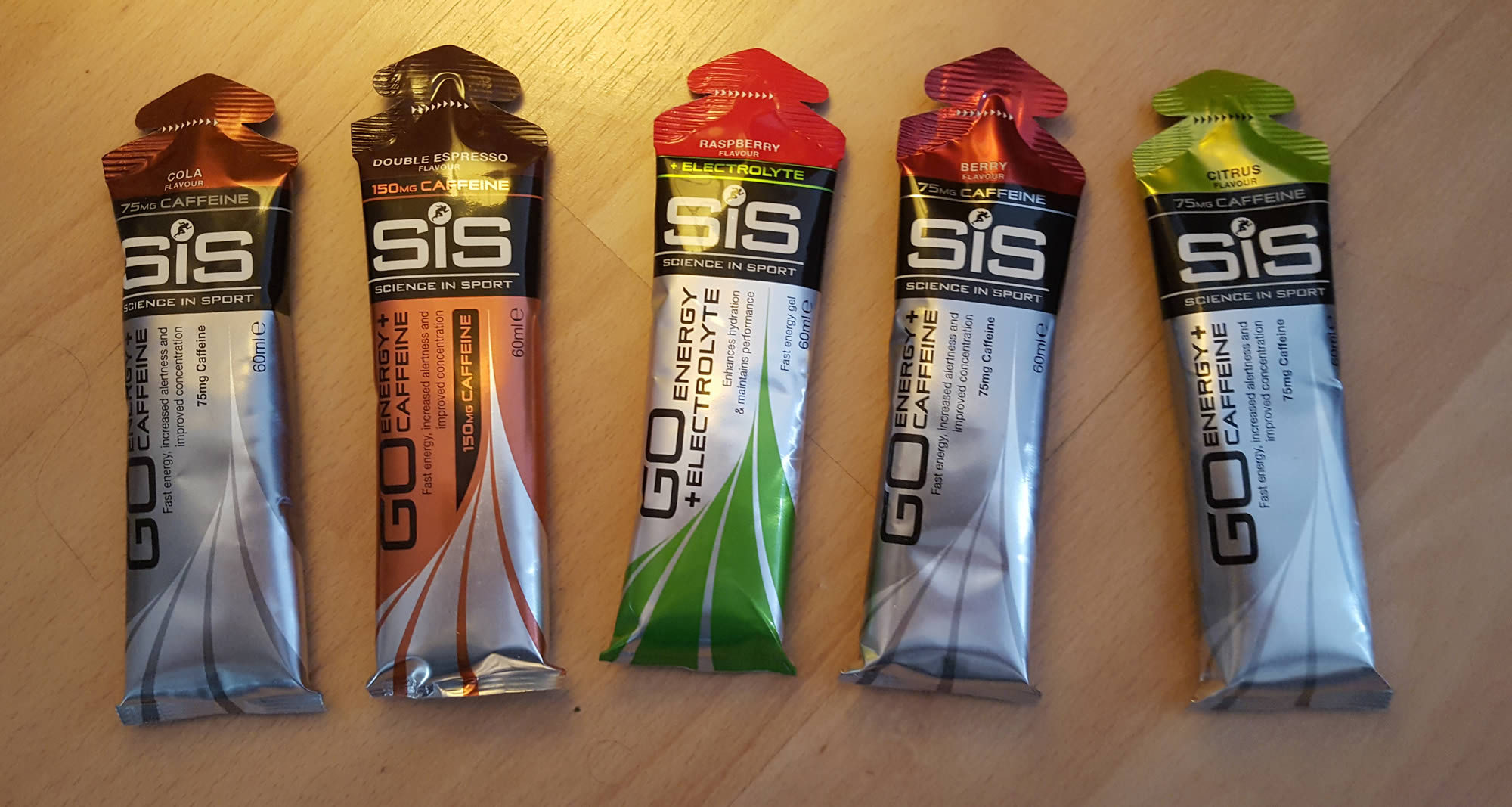 sis caffeinated gel range
